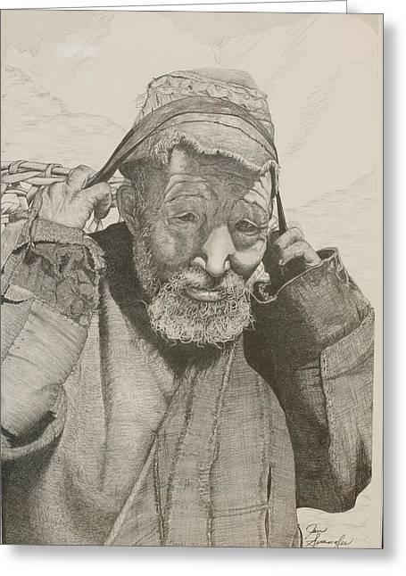 Sherpa. Greeting Card by Jan  Spangler