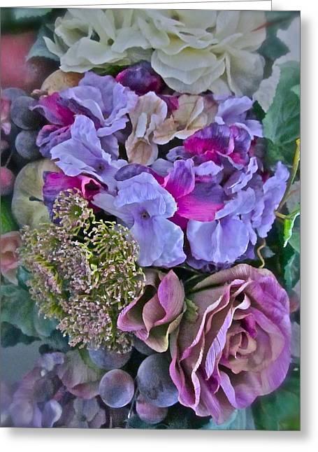 Sherry's Silks Greeting Card by Gwyn Newcombe