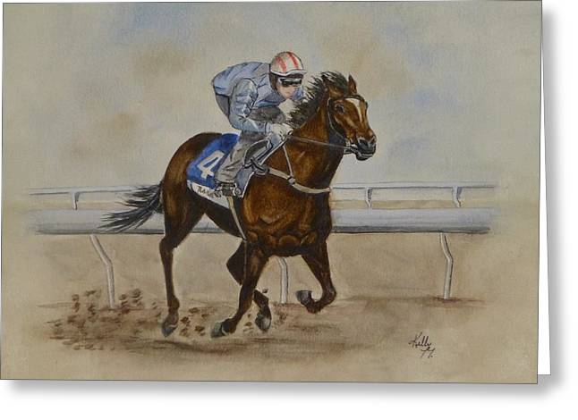 She's Taking The Lead ... Horserace Greeting Card