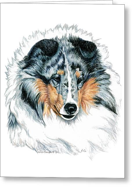 Shetland Sheepdog, Sheltie, Blue Merle Greeting Card by Kathleen Sepulveda