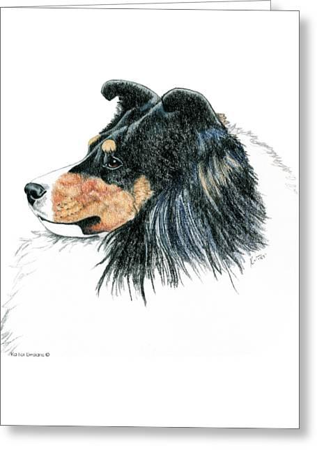 Shetland Sheepdog, Sheltie Tri Color Greeting Card by Kathleen Sepulveda