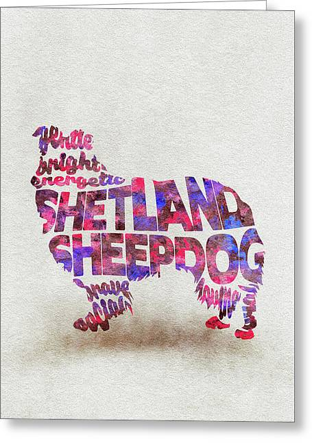 Shetland Sheepdog Watercolor Painting / Typographic Art Greeting Card
