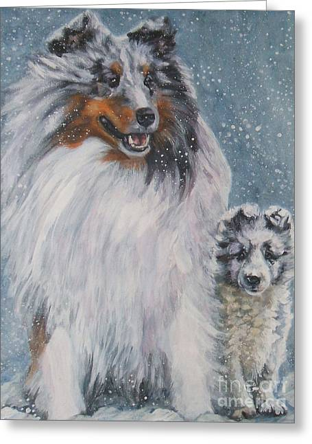 Shetland Sheepdogs In Snow Greeting Card by Lee Ann Shepard