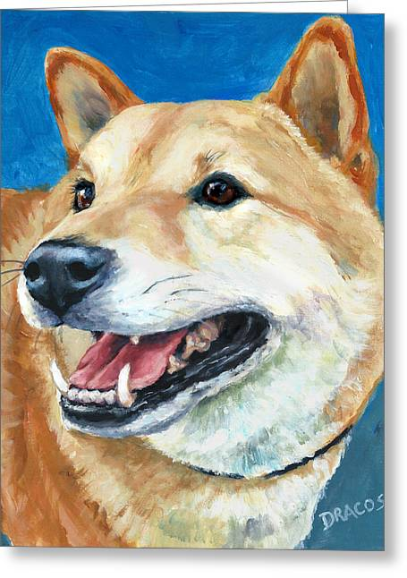 Inu Greeting Cards - Shiba Inu on Blue Greeting Card by Dottie Dracos