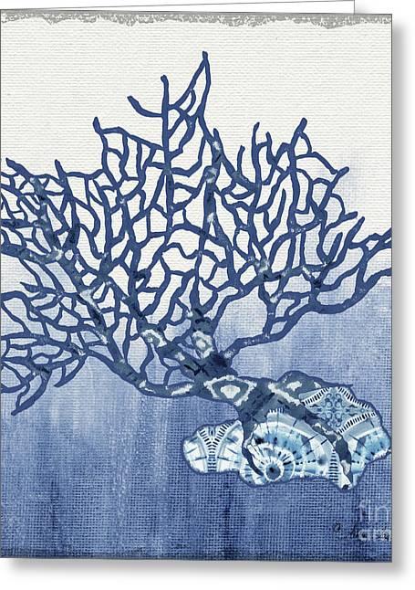 Shibori Blue 5 - Patterned Blue Sea Coral On Rock Over Indigo Ombre Wash Greeting Card