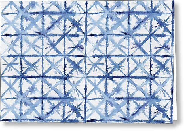 Shibori Kubo Watecolor X Pattern Line Work Indigo Blue Greeting Card
