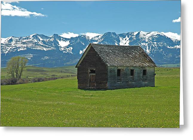 Greeting Card featuring the photograph Shields Valley Abandoned Farm Ranch House by Bruce Gourley