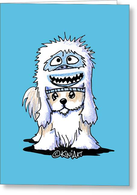 Shih Tzu In Yeti Hat Greeting Card
