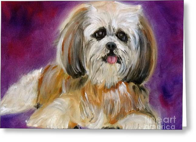 Shih-tzu Puppy Greeting Card by Jenny Lee