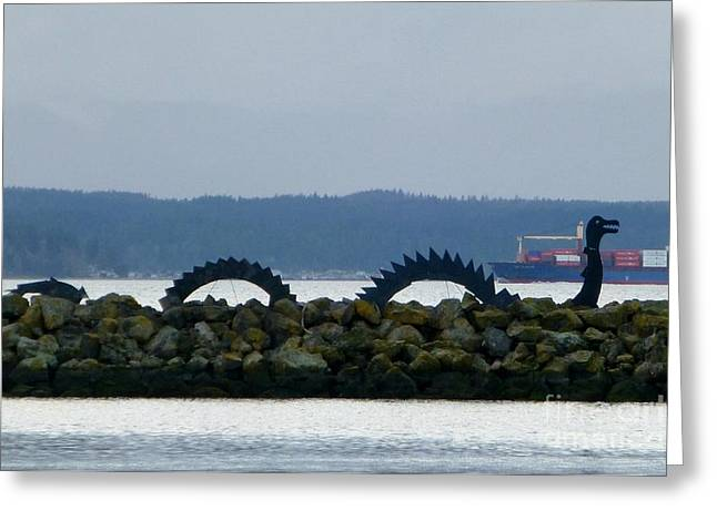 Shilshole Sea Serpent Greeting Card by As the Dinosaur Flies Photography