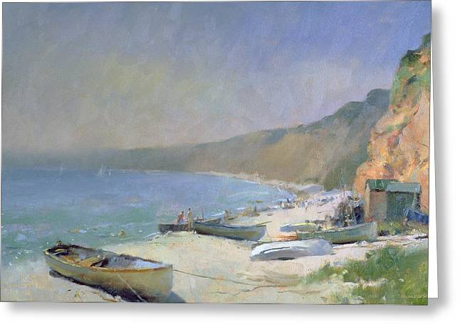 Shimmering Beach - Budleigh Salterton Greeting Card by Trevor Chamberlain