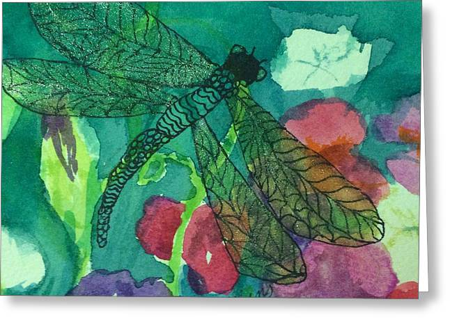 Shimmering Dragonfly W Sweetpeas Square Crop Greeting Card