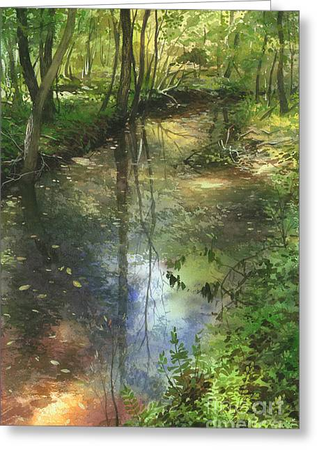 Greeting Card featuring the painting Shimmering Stream by Sergey Zhiboedov
