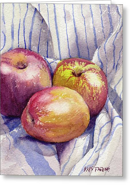 Shine On 3 Apples Greeting Card by Kris Parins
