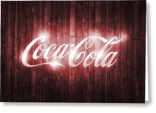 Shining Coca Cola Barn Door Greeting Card