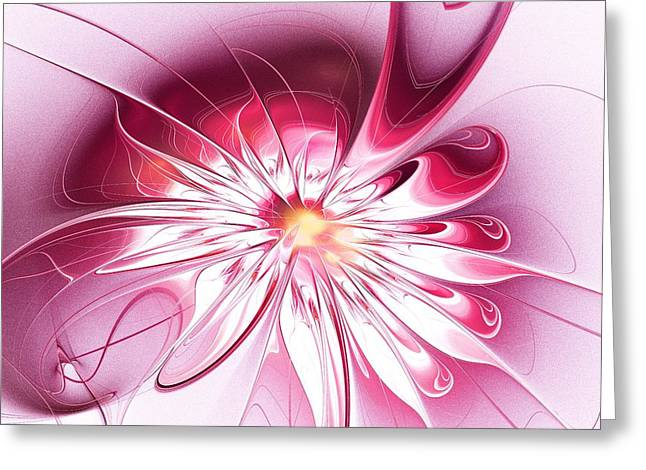 Shining Pink Flower Greeting Card by Anastasiya Malakhova