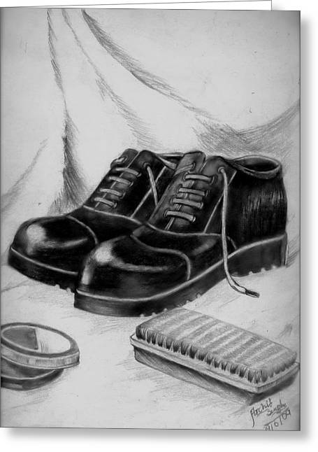 Shining Shoes Greeting Card by Archit Singh