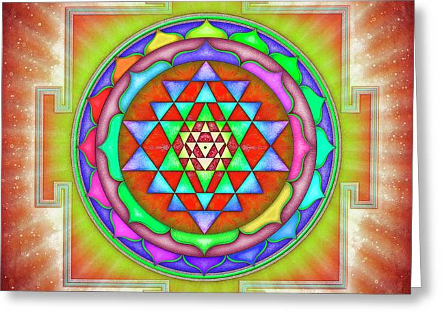 Shining Sri Yantra Mandala II Greeting Card