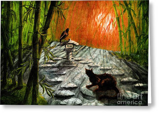 Black Cat Fantasy Greeting Cards - Shinto Lantern at Dusk Greeting Card by Laura Iverson