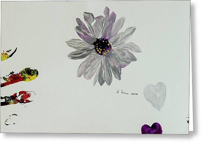 Shiny Flower Greeting Card by Andrea Sims