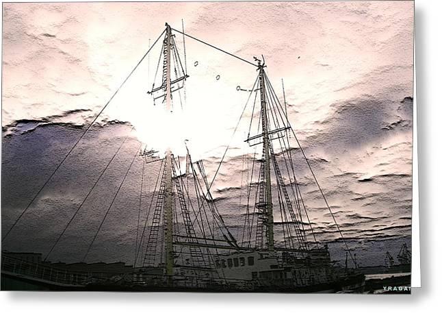 Ship And Sun Greeting Card