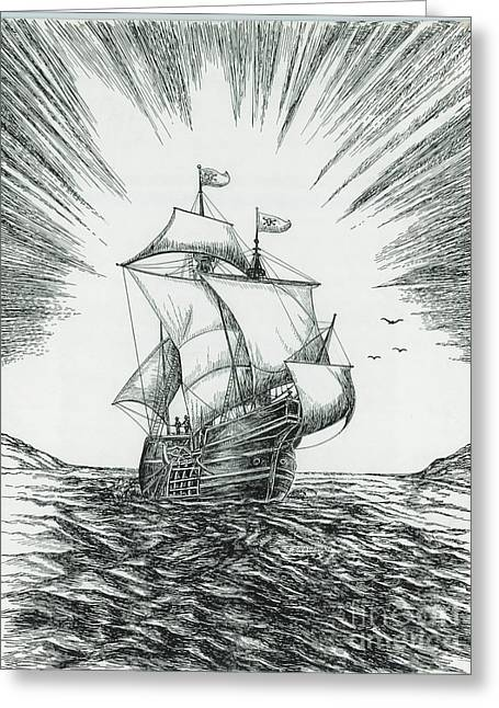 Ship At Daybreak Greeting Card by Samuel Showman