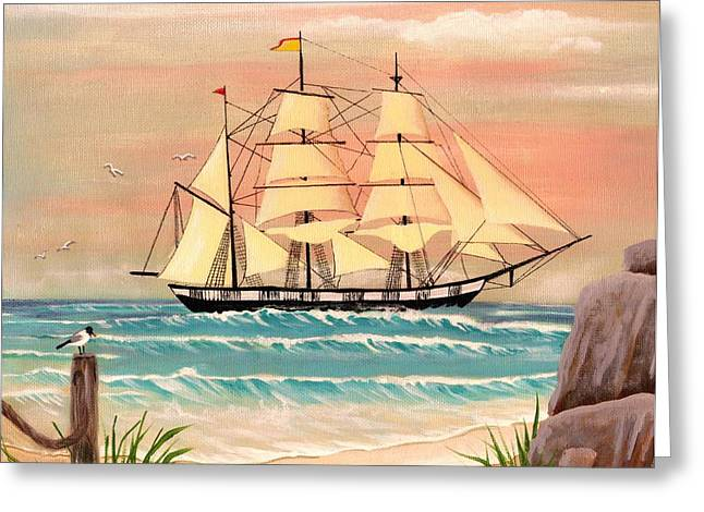 Ship At Sea Greeting Card by Eileen Blair
