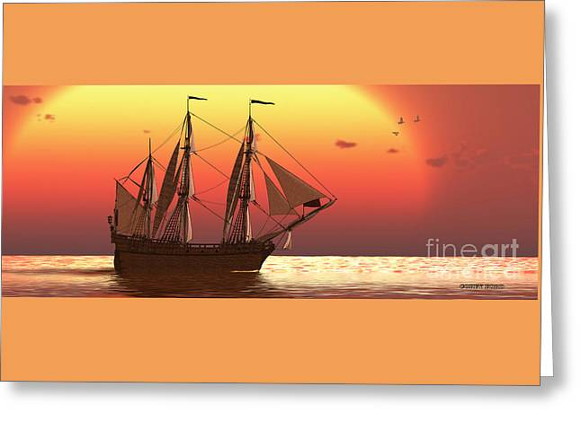 Ship At Sunset Greeting Card