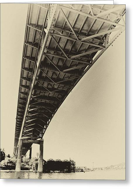 Ship Canal Bridge Old Yellow Greeting Card