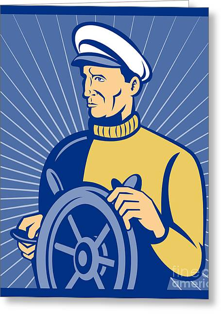 Ship Captain At The Helm  Greeting Card by Aloysius Patrimonio