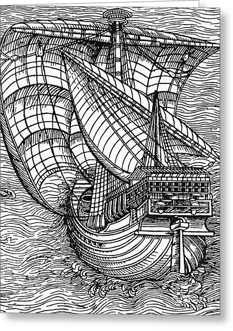 Ship From The Time Of Christopher Columbus Greeting Card by English School