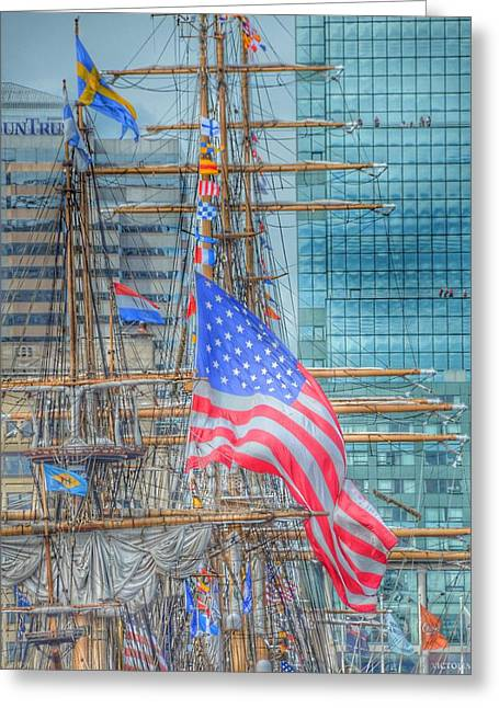 Ship In Baltimore Harbor Greeting Card by Marianna Mills