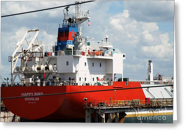 Ship In Tampa Harbor Greeting Card by Rose  Hill