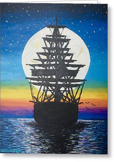 Ship In The Moon Greeting Card by Robbie Nuwanda
