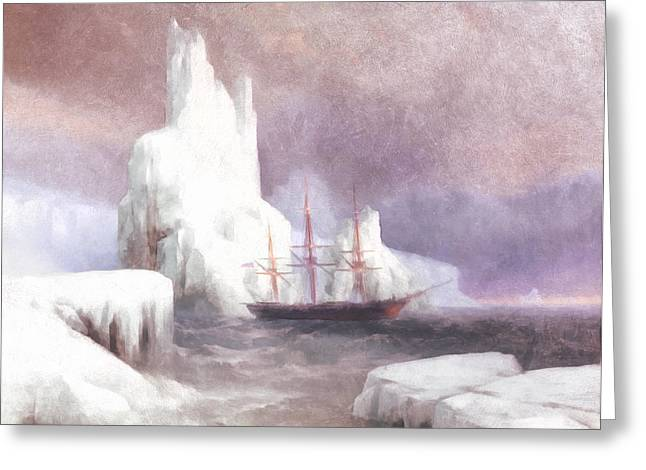 Ship In Winter Greeting Card