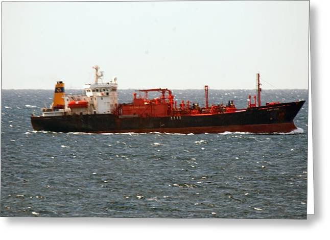 Ship Leaving Galveston Greeting Card by Bill Perry