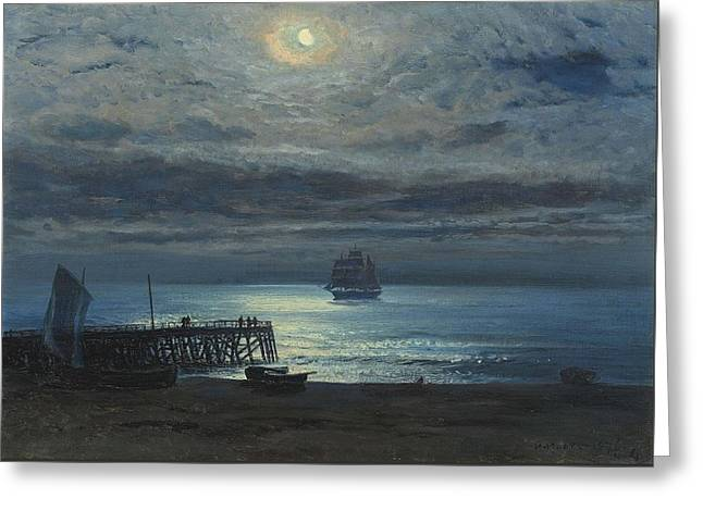 Ship On A Moonlit Sea Greeting Card by MotionAge Designs