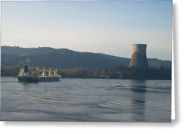 Ship Passing The Now Demolished Trojan Nuclear Plant Greeting Card by Alan Espasandin