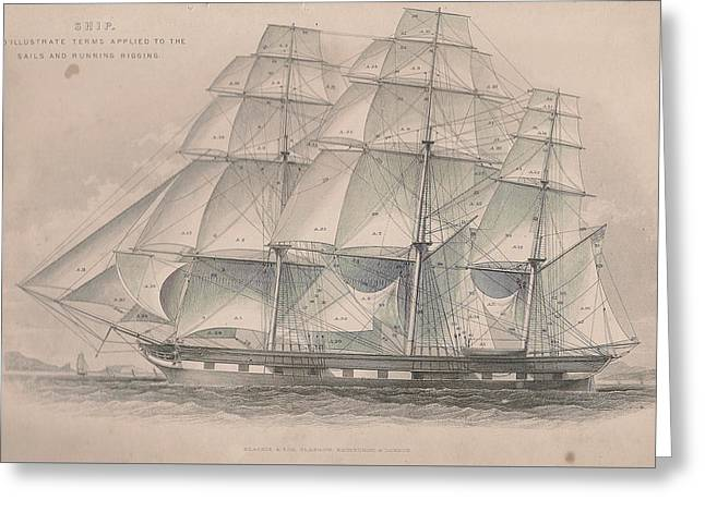 Ship Showing Sails And Rigging Greeting Card by Victorian Engraver