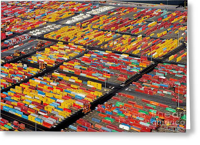 Shipping Container Yard Greeting Card by Phil Degginger