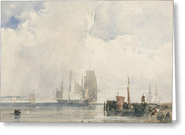 Shipping In An Estuary, Probably Near Quilleboeuf Greeting Card by Richard Parkes Bonington