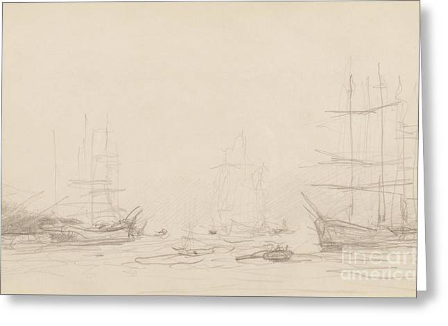 Shipping In Falmouth Harbour Greeting Card