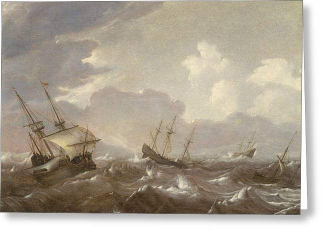 Shipping In The High Seas Greeting Card by Pieter the Elder Mulier
