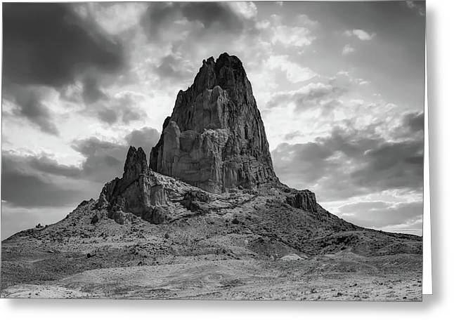 Shiprock Monolith Sunset - Monument Valley - American Southwest Bw Greeting Card