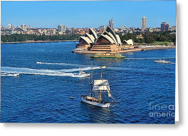 Ships And Boats Passing Opera House Greeting Card by Kaye Menner