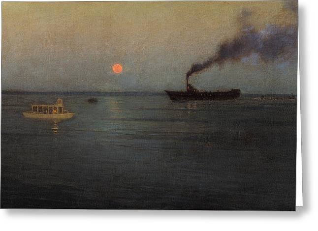 Ships At Sunset Greeting Card by Birge Harrison