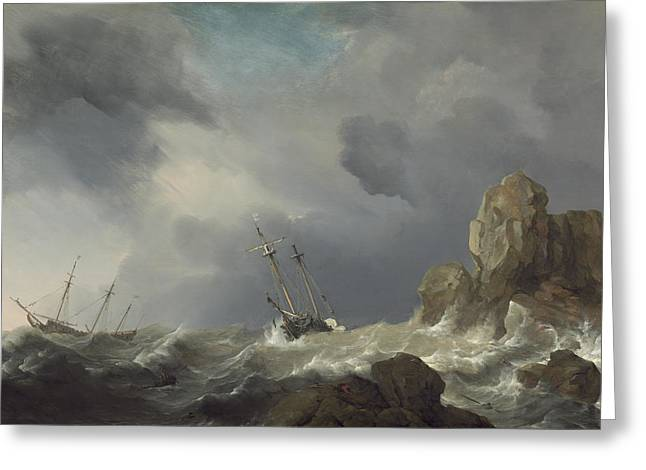 Ships In A Gale Greeting Card