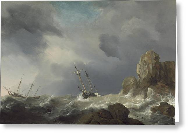 Ships In A Gale Greeting Card by Willem Van De Velde The Younger