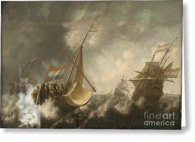 Ships In A Storm  Greeting Card by MotionAge Designs