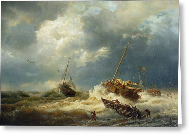 Ships In A Storm On The Dutch Coast Greeting Card by Andreas Achenbach